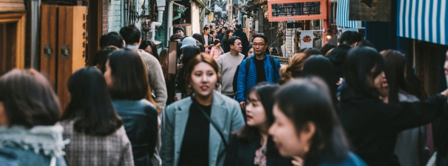 crowded street in Seoul, Korea